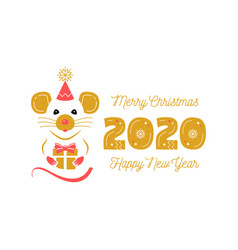 year rat 2020 chinese zodiac christmas vector image