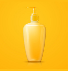 Yellow shampoo pump bottle with reflection vector