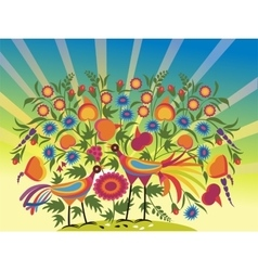 abstract painting - birds in flowers vector image