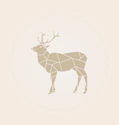 low poly brown deer vector image
