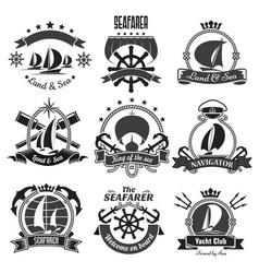 nautical heraldic symbols marine icons set vector image