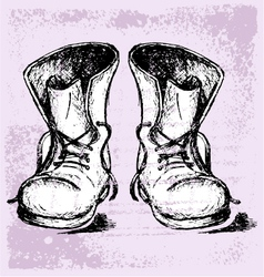 Old and dirty boots vector image vector image