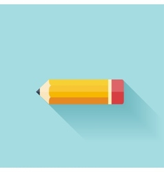 Pencil flat icon Study background vector image vector image