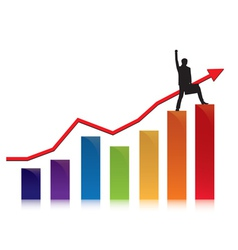 profit and commerce chart with businessman vector image vector image