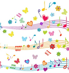 Colorful music design with stave butterflies vector