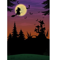 Halloween landscape with witch vector image vector image