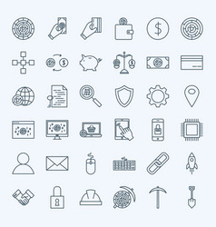line cryptocurrency icons vector image vector image