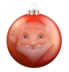 Reflection Santa Claus in Christmas ball vector image