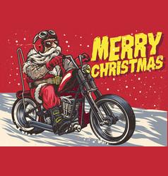 senior biker wear santa claus costume and riding vector image
