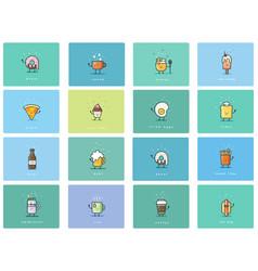 set of flat food icons cute cartoon characters vector image