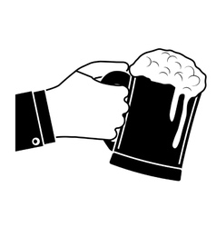 black glass of beer in the hand icon design vector image