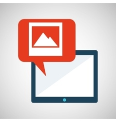 Blue cartoon tablet image bubble speech vector