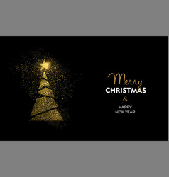 christmas and new year gold glitter pine tree card vector image