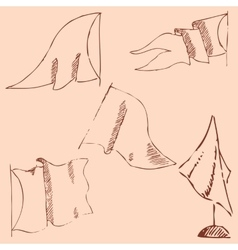 Flags sketch Pencil drawing by hand Vintage vector image vector image