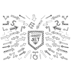 Hand drawn arrow icons set isolated on white vector image vector image