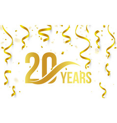 Isolated golden color number 20 with word years vector