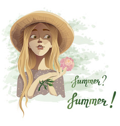 beautiful romantic summer girl in a straw hat with vector image