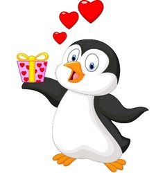 Cute penguin holding present vector