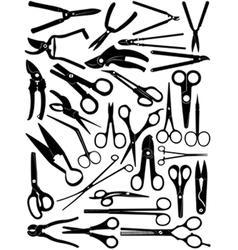 different scissors set vector image vector image
