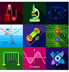 school science program icons set flat style vector image