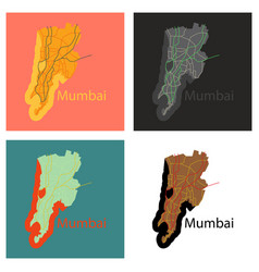 Set of flat icon map of mumbai vector