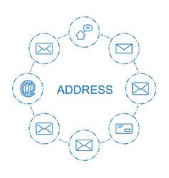 8 address icons vector