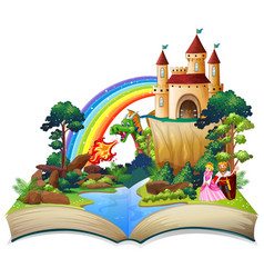 A fairy tale open book vector
