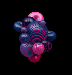 abstract 3d blue and pink gradient color vector image