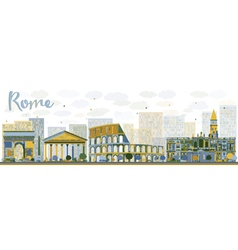 Abstract Rome skyline with color landmarks vector image