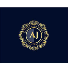 Aj initial letter gold calligraphic feminine vector