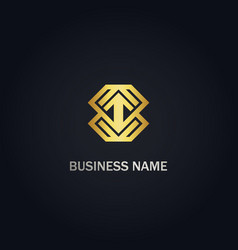 Arrow up geometry company gold logo vector