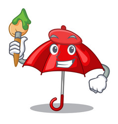 artist umbrella red in a character beautiful vector image