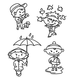 autumn children vector image