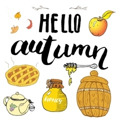 Autumn season set Hand drawn doodles and vector image