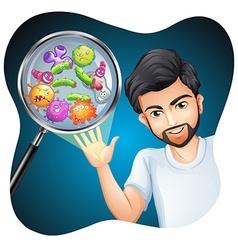 Bacteria on human hand vector image