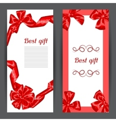 Banners with red satin gift bows and ribbons vector