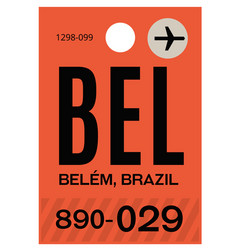 Belem airport luggage tag vector