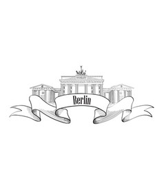 berlin label famous german landmark travel vector image