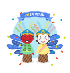 Birthday jakarta background with traditional vector