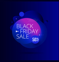 black friday sale poster with 3d flow shape vector image