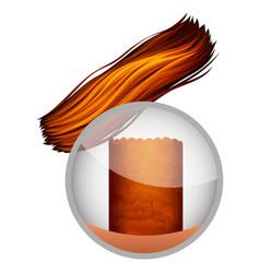 Brown anatomy hair bulb under the microscope vector