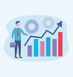 businessman with statistics bar information and vector image