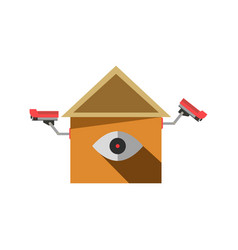 Cctv cameras on isolated element in house shape vector