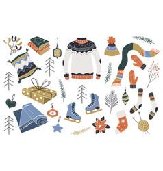 christmas design elements scandinavian style vector image