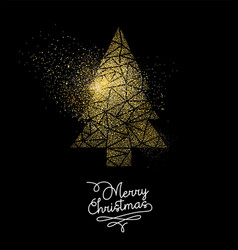 christmas gold glitter pine tree decoration card vector image