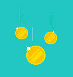 Coins money falling or dropping flat vector