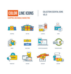 color thin line icons set vector image vector image