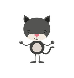 Colorful caricature of cute kitten tranquility vector