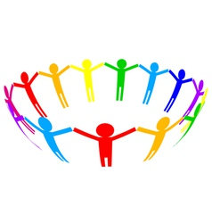 colorful icon - people in circle vector image vector image