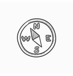 Compass sketch icon vector